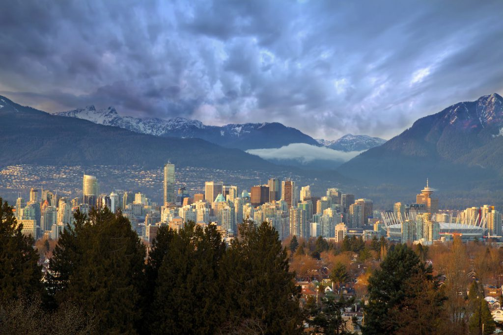 Vancouver British Columbia Canada Downtown Skyline with Mountains
