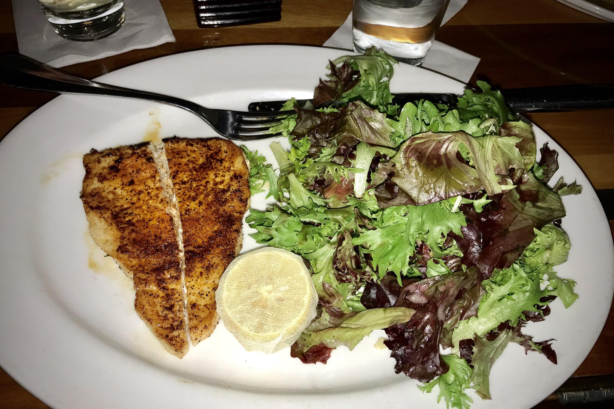 Blackened grilled swordfish
