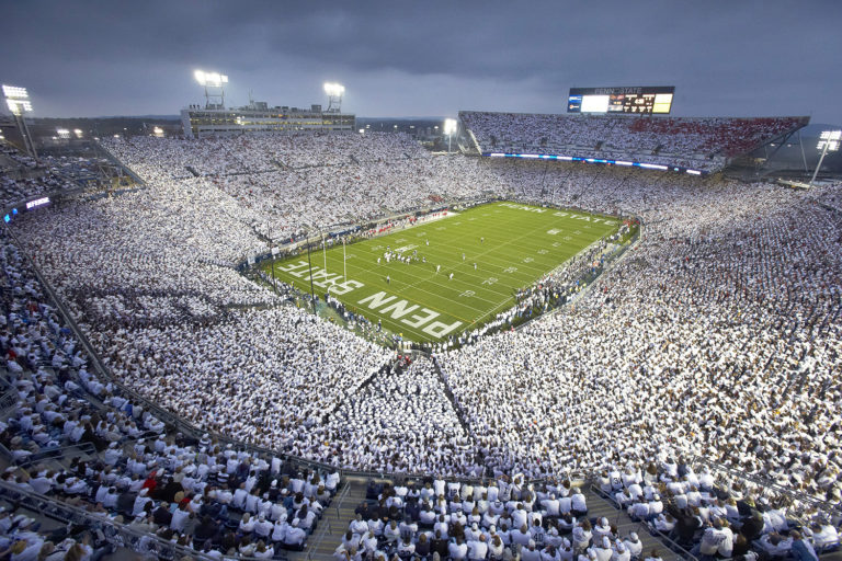 "College Football: Overall view of Penn State fans wearing all white in stands during ""White Out"" game vs Ohio State at Beaver Stadium. University Park, PA 10/27/2012 CREDIT: Simon Bruty (Photo by Simon Bruty /Sports Illustrated/Getty Images) (Set Number: X155691 TK1 R2 F108 )"