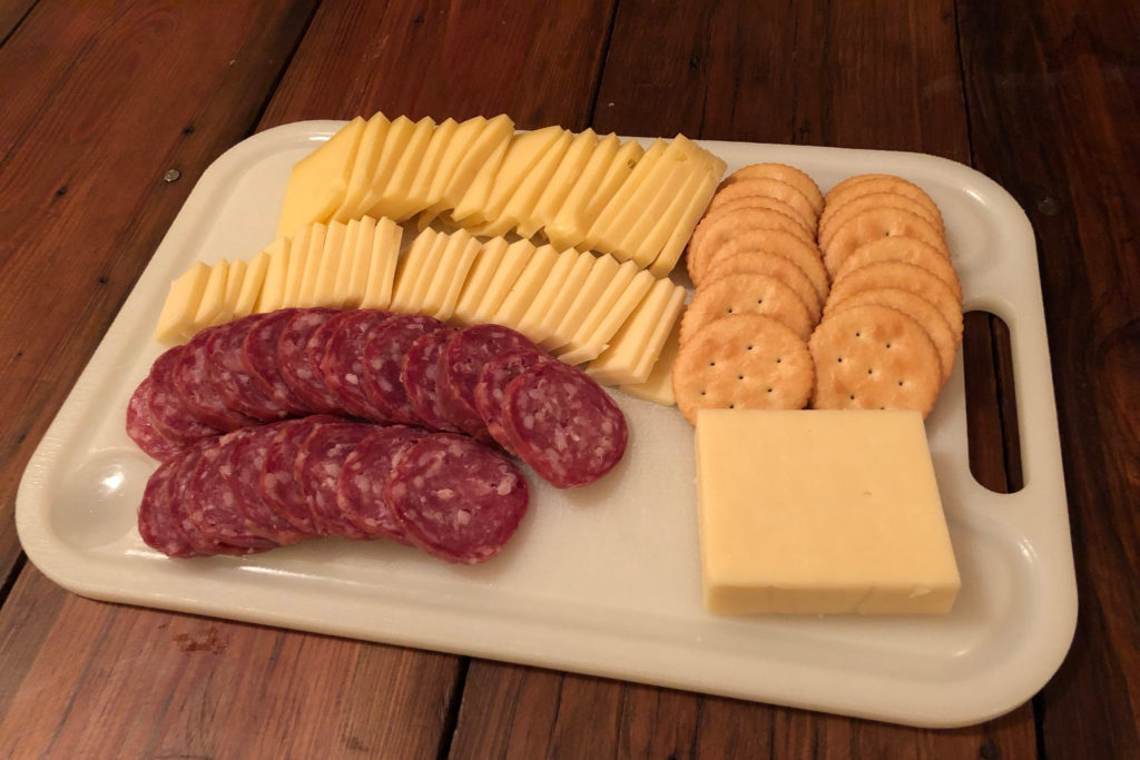 Summer sausage, cheddar/gruyere hybrid, and a Swiss cheese