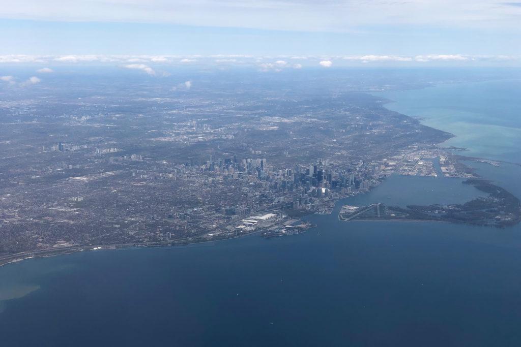 Approaching Toronto, over Lake Ontario