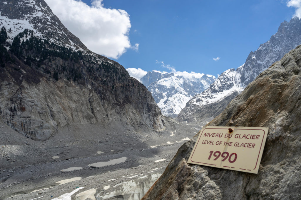 The glacier has receded immensely due to climate change. It took almost 30 minutes to walk from this sign to the current level.