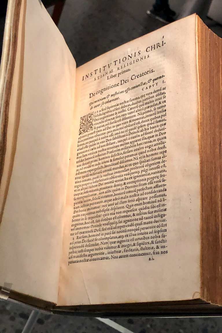 1564 copy of Calvin's Institutes of the Christian Religion