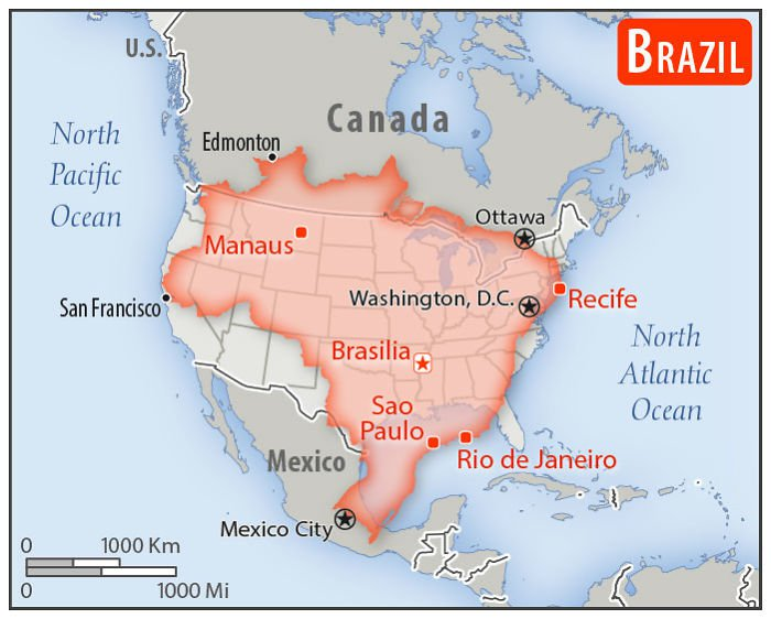 Map of Brazil overlayed on the United States