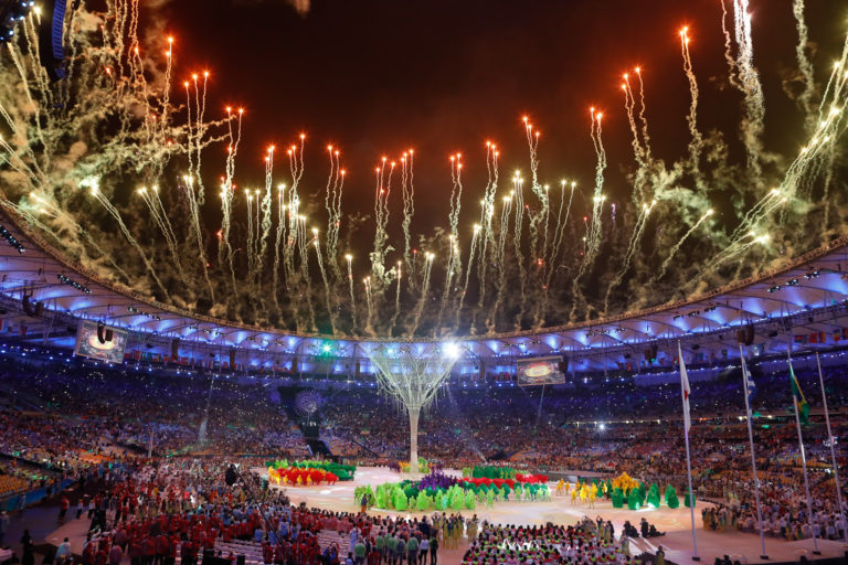 Fireworks go off at the closing ceremonies of the 2016 Summer Olympics in Rio de Janeiro, Brazil
