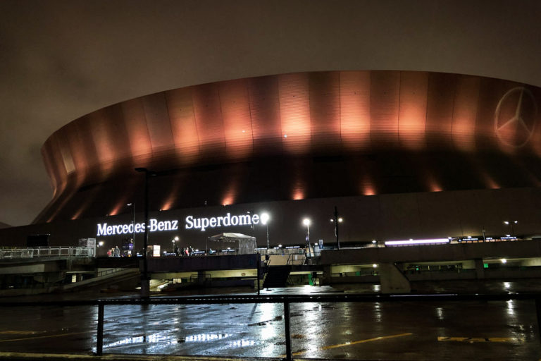 The Superdome lit up black and gold after a Mountaineer victory